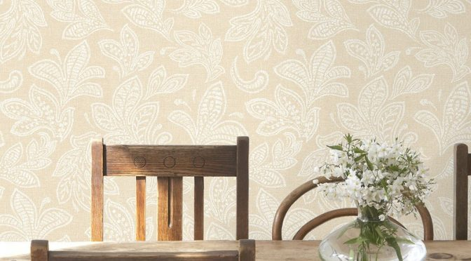 Crown Calico Leaf Buttermilk Wallpaper – Ideal For The Bathroom