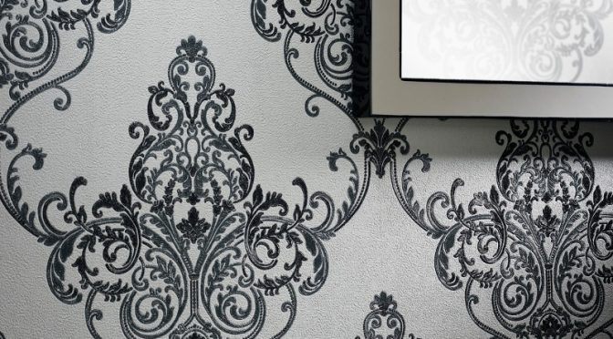 Arthouse Valdina Damask Black/White Glitter Wallpaper
