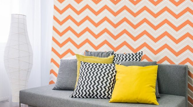 Coloroll Chevron Geometric Wave Orange Glitter Wallpaper