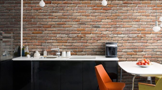 Komar Brick Wall Mural with Inspirational Rustic Charm