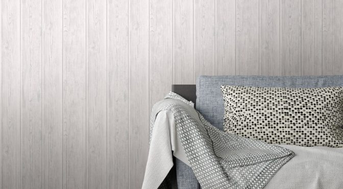 White Metallic Wallpaper with Lipsy London Wood Effect