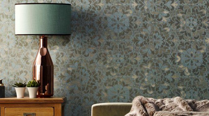 Arthouse Empress Motif Duck Egg Glitter Wallpaper