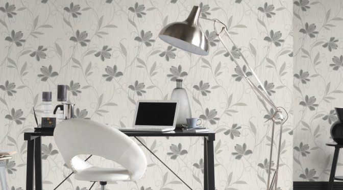 AS Creation Lotus Floral Grey Glitter Wallpaper – Luxury Textures
