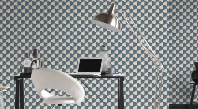 AS Creation Square 3D Effect Blue White Wallpaper