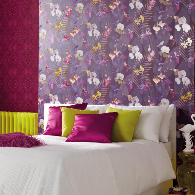 Arthouse pindorama floral leaf plum wallpaper tropics - Art house wallpaper uk ...