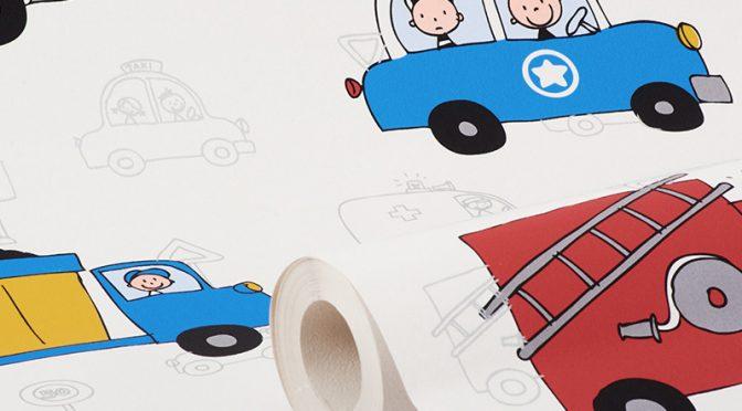 Debona City Traffic Trucks Multi Wallpaper – Childs bedroom