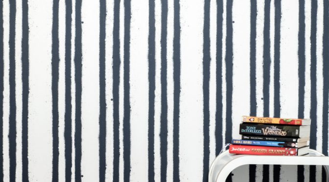 PaperBoy Stripes White Blue Wallpaper