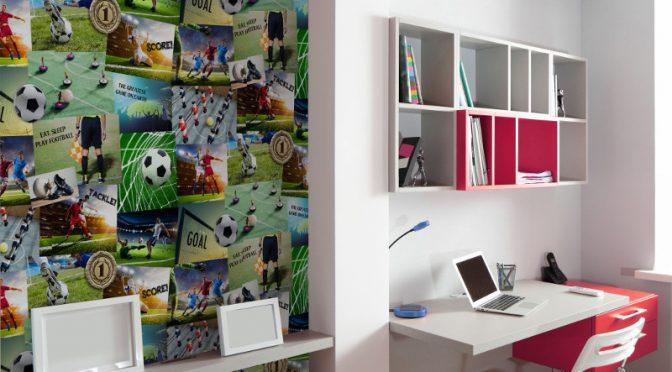 Fine Decor Football Collage Multi Wallpaper – Novelty Wallpaper