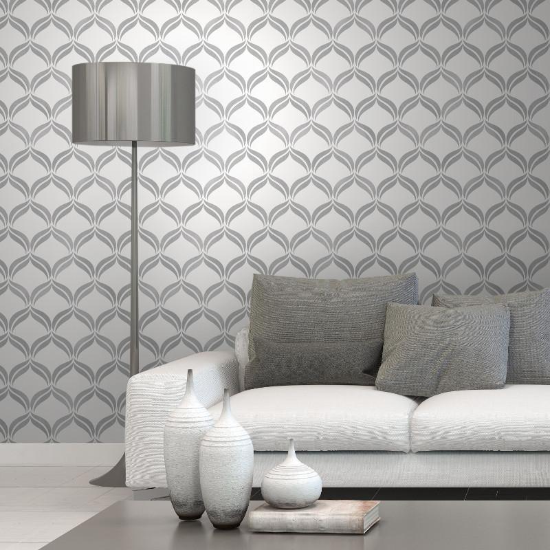 Fine Decor Geometric Grey Silver Glitter Wallpaper - Marokkaans Behang