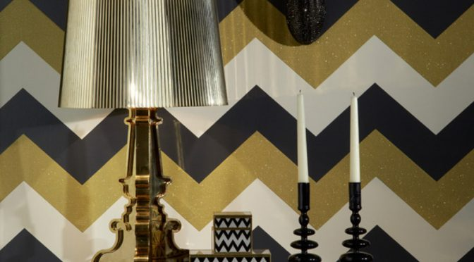 Arthouse Chevron Black Gold Glitter Wallpaper – Glittering Glamour