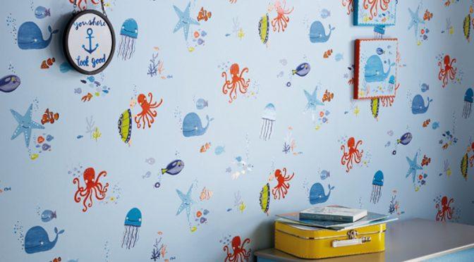 Arthouse Underwater Fun Blue Glitter Wallpaper