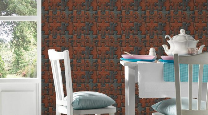 Jigsaw Puzzle Brown Wallpaper – AS Creation Simply Decor