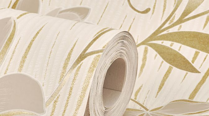 AS Creation Lotus Floral Gold Glitter Wallpaper