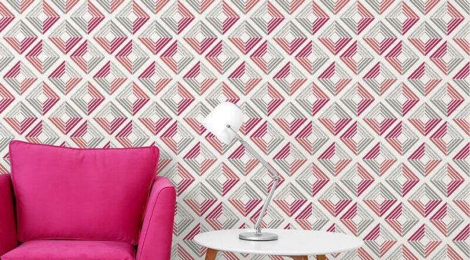 Coloroll Echo Geometric Coral Glitter Wallpaper