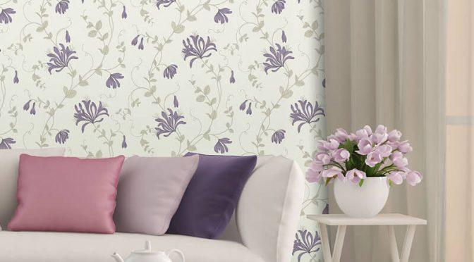 Crown Amelie Floral Plum Wallpaper