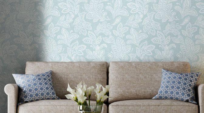 Crown Calico Leaf Duck Egg Wallpaper