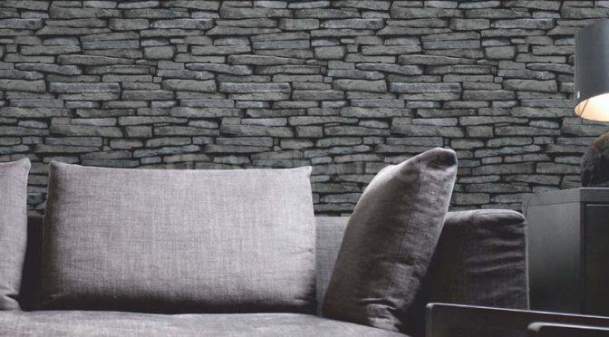 Fine Decor Slate Wallpaper in Natural Grey Silver