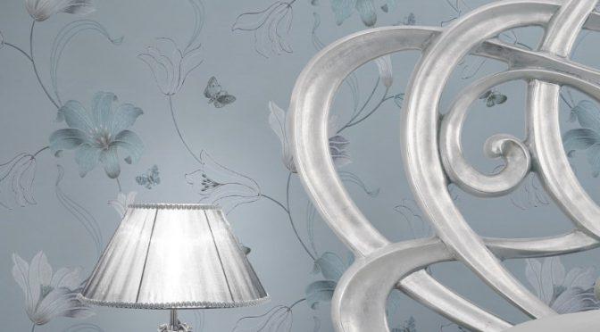 Muriva Amelia Floral Duck Egg Metallic Wallpaper