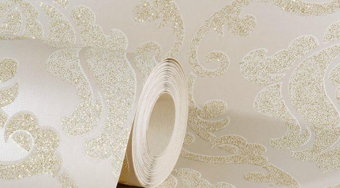 AS Creation Omega Damask Cream Glitter Wallpaper