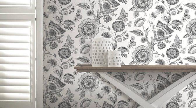 Arthouse Catarina Floral Black/White Wallpaper