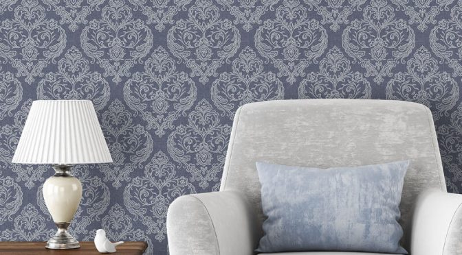 Crown Calico Damask Linen Blue Wallpaper