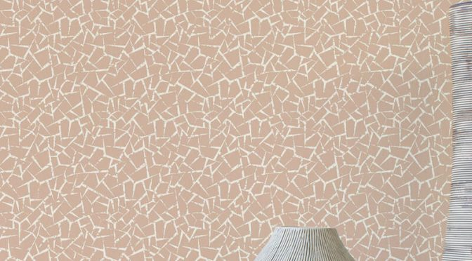 Crown Florence Crackle Plain Rose Gold/Cream Wallpaper
