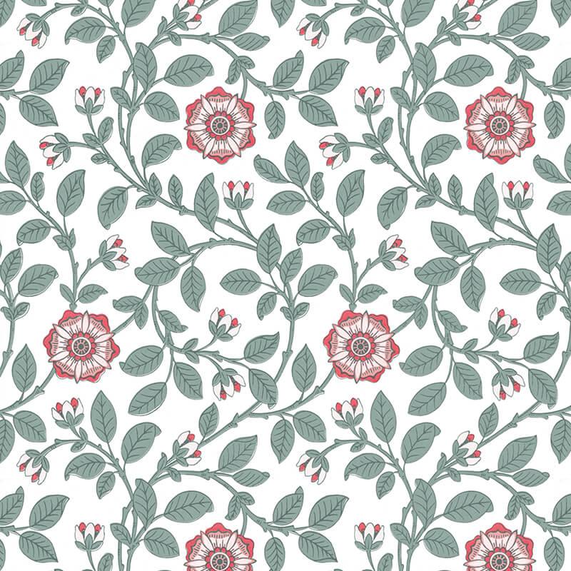 Crown Kitchen Bathroom Paint In Olive Press Green And: Little Greene Richmond Green Wallpaper In Dorcas
