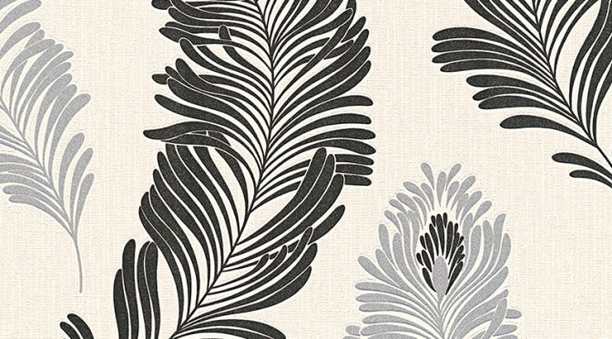 AS Creation Feather Black/Silver Glitter Wallpaper