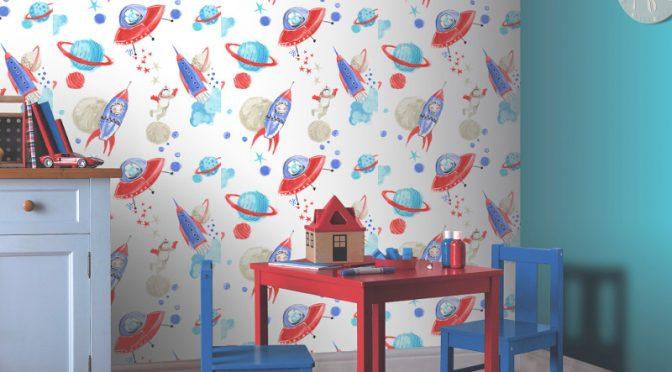 Arthouse Space Man Rocket Glitter Wallpaper in White