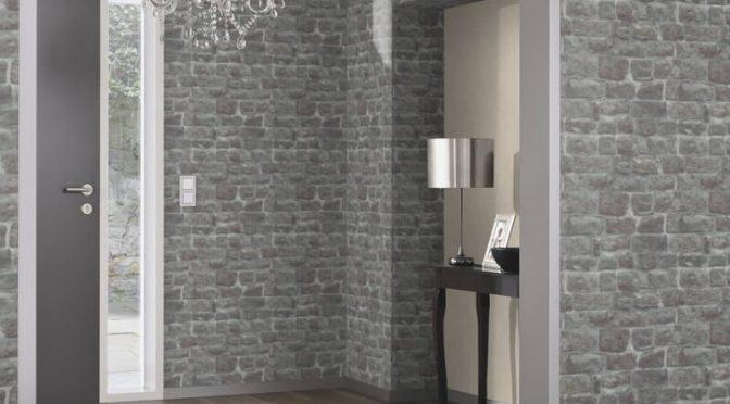 Erismann Brick/Stone Effect Charcoal Wallpaper