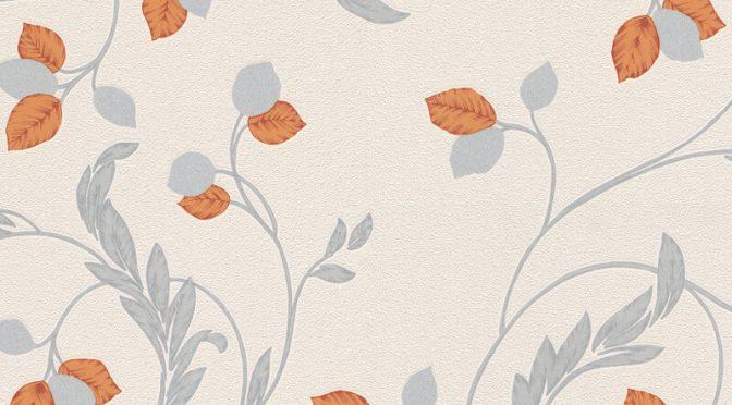 Erismann Shimmer Floral Orange Glitter Wallpaper