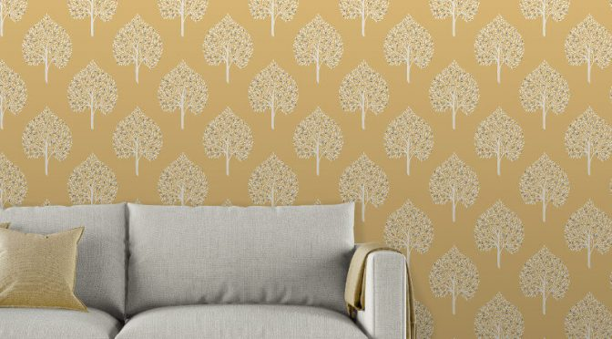 Fine Decor Annabelle Tree Yellow Wallpaper
