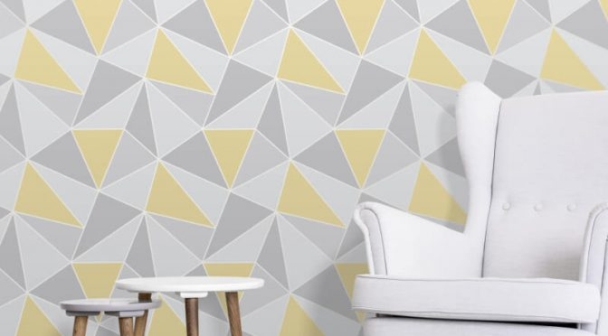 Fine Decor Apex Geo Yellow/Grey Wallpaper