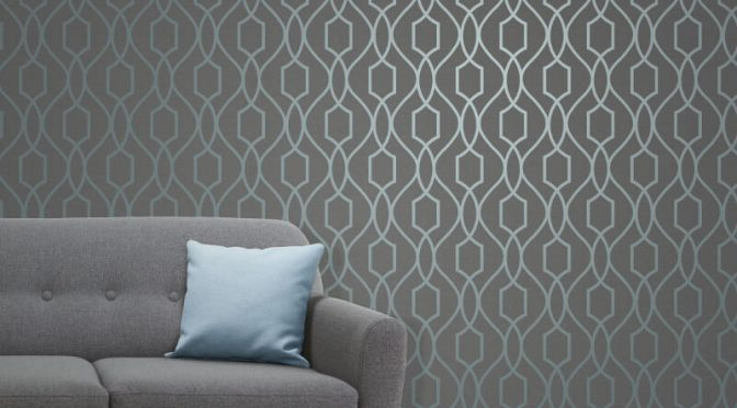 Fine Decor Apex Trellis Blue/Slate Wallpaper