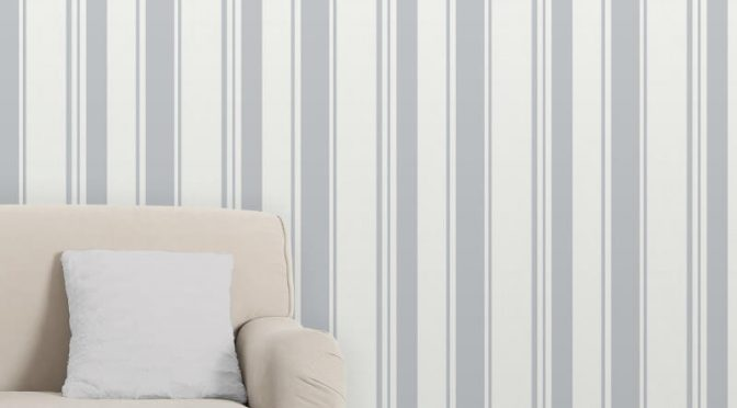 Fine Decor Isobelle Stripe Stone/Silver Wallpaper