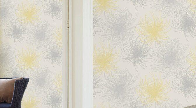 Grandeco Cosmo Floral Yellow Glitter Wallpaper