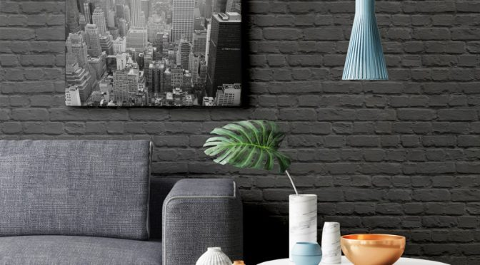 Muriva Painted Brick Shiny Black Wallpaper