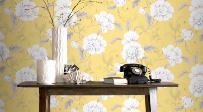 Rasch Boutique Floral Yellow Wallpaper
