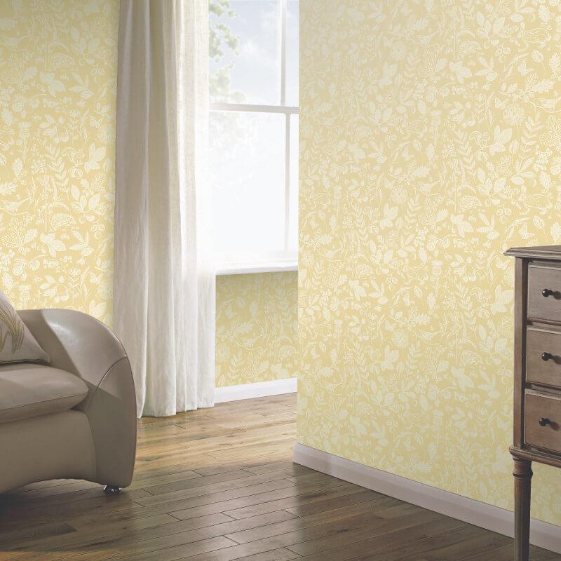 Country folk yellow wallpaper arthouse imagine wallpaper - Art house wallpaper uk ...