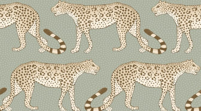Cole & Son Leopard Walk Olive/White Wallpaper