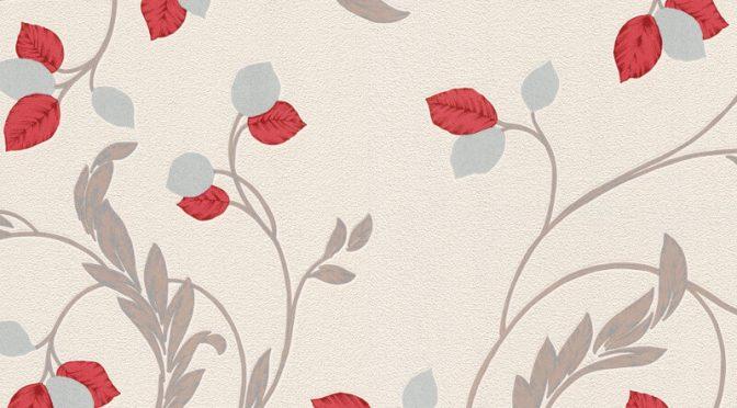 Erismann Shimmer Floral Red Glitter Wallpaper