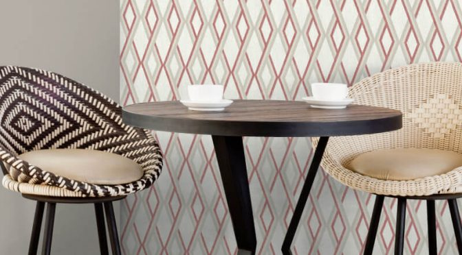Muriva Carus Geo Red Wallpaper