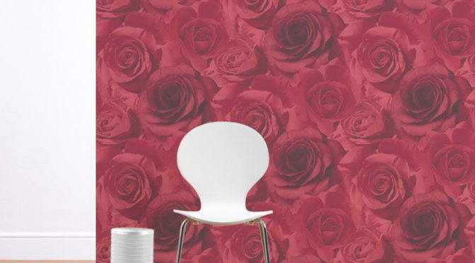 Muriva Madison Rose Floral Bloom Wallpaper in Red