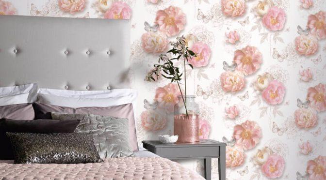 Arthouse Flower Garden Blush Glitter Wallpaper