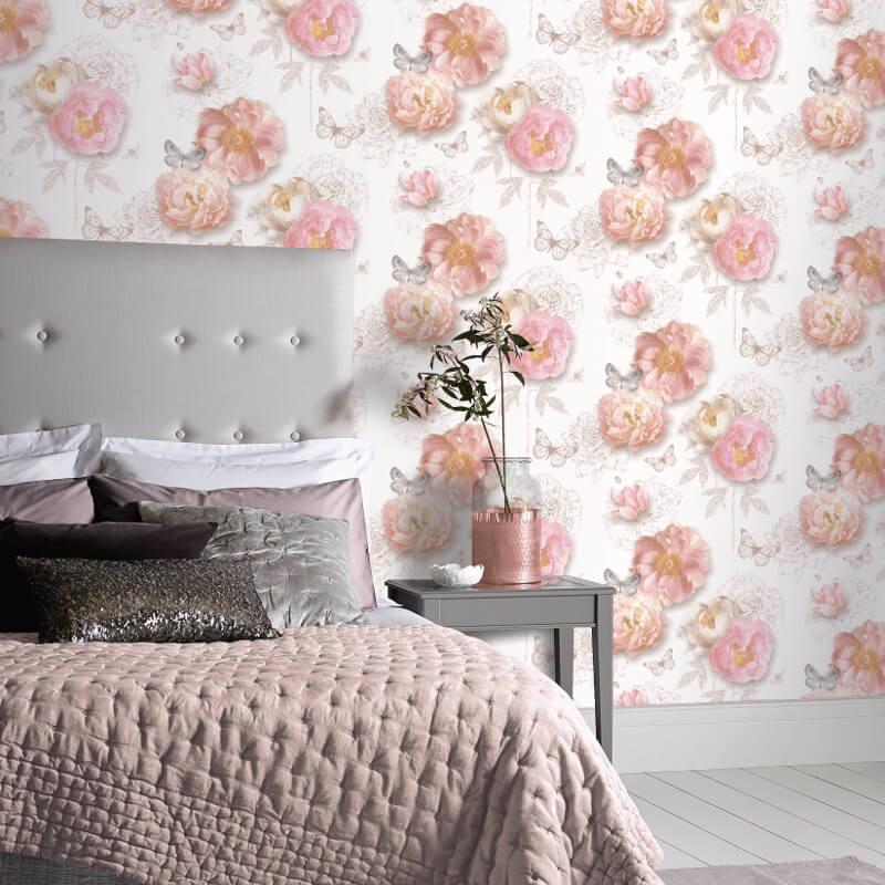 Arthouse Flower Garden Blush Glitter Wallpaper - Arthouse