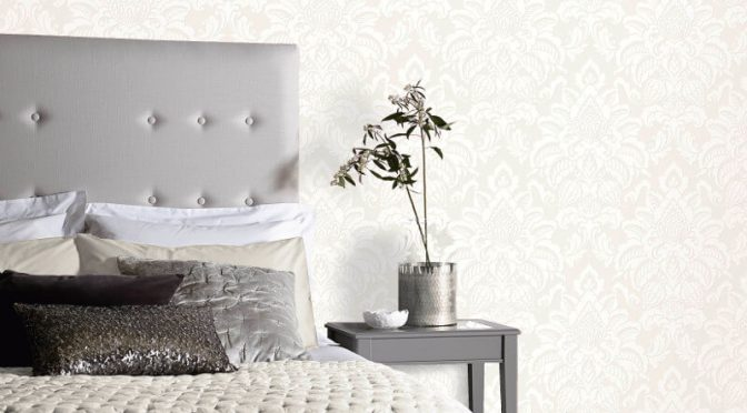 Arthouse Glisten Damask Ivory Glitter Wallpaper