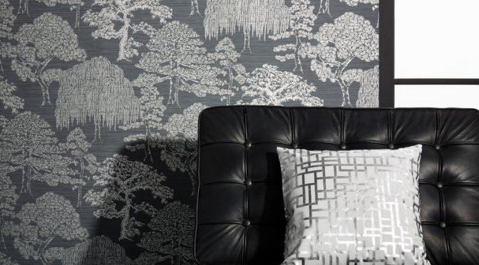Arthouse Meili Trees Gunmetal Silver Wallpaper