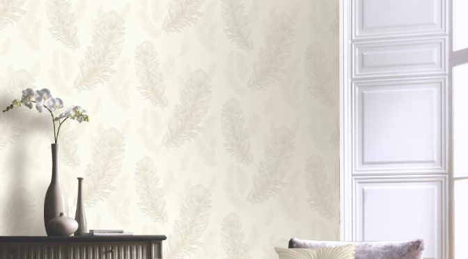 Arthouse Sirius Feather Glitter Wallpaper in Pearl