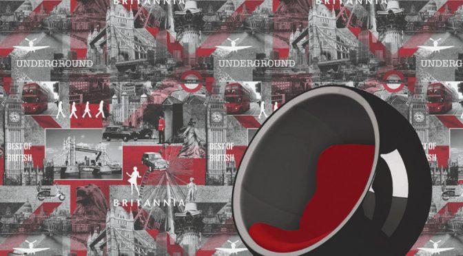 Muriva Britannia Black, White & Red Wallpaper