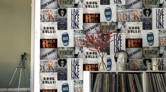 Muriva Novelties Rock Rules Multi Wallpaper